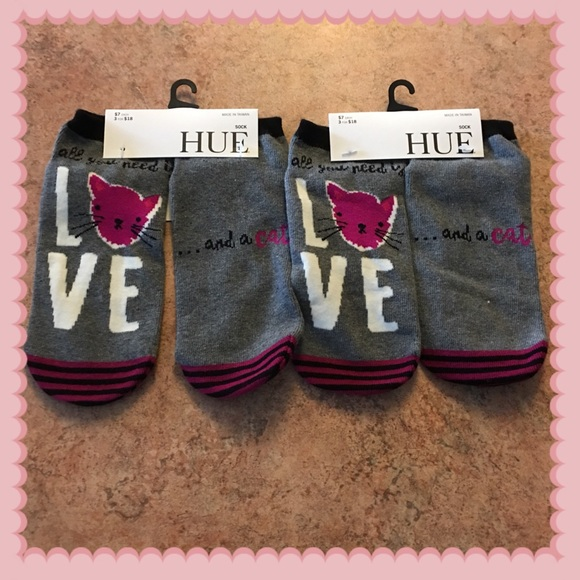 HUE Accessories - hue all you need is love and a cat 2 pairs socks